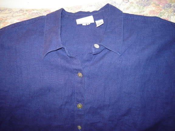 Womens Chicos or Chico�s Design Blue Linen Shirt 3 L