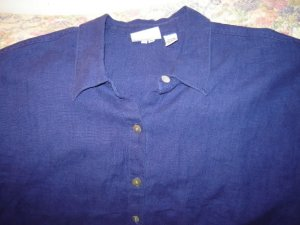 Womens Chicos or Chico�s Design Blue Linen Shirt 3 L