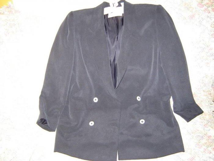 Dana Buchman Navy Blue Sueded Silk Jacket Blazer 6 S