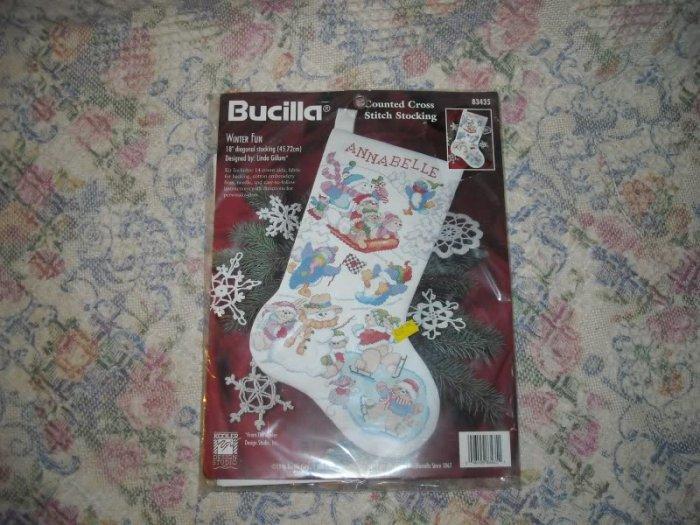 Bucilla Winter Fun Christmas Stocking Cross Stitch Kit