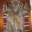 Womens Boston Proper Animal Print Silk Shirt 6