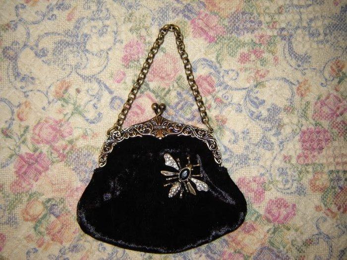 Guess Small Black Velvet Dragonfly Embellished Bag