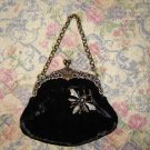Guess Small Black Velvet Dragonfly Embellished Bag