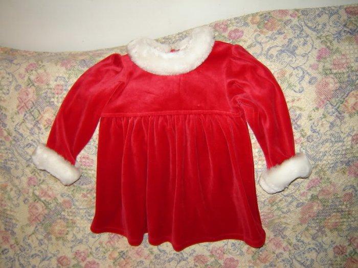 All Mine Red Fake Fur Santa Christmas Dress 24 M