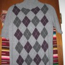 Womens Simply Cashmere Argyle Short Sleeve Sweater M