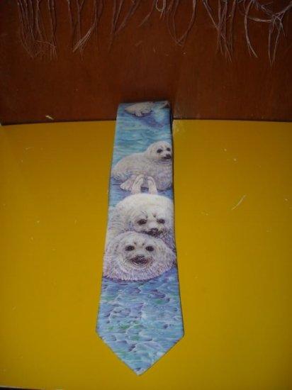 Mens Ralph Marlin Harp Seals Tie Necktie
