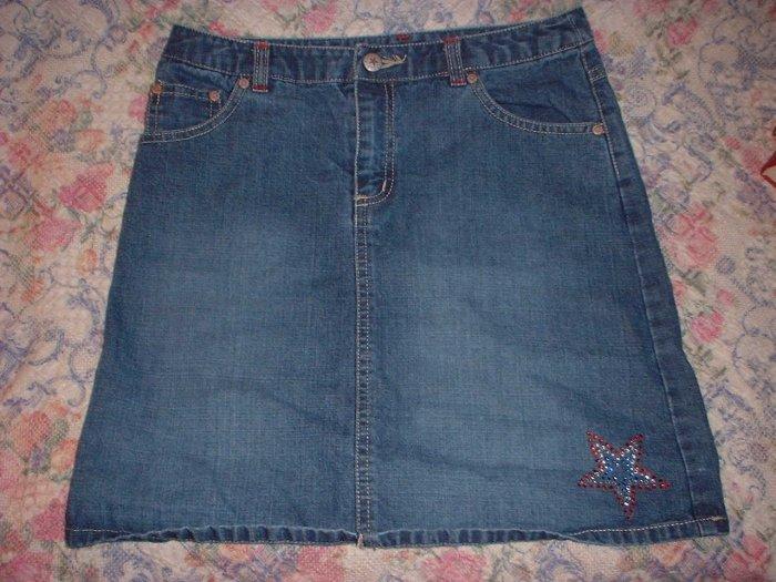Girls 14 L Old Navy Denim Jean Skirt Star Embellished