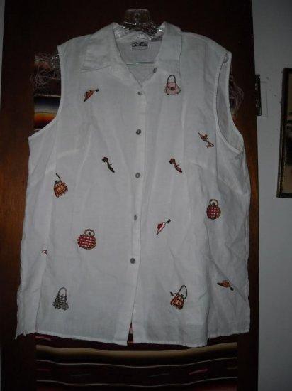 Womens Irish Linen White Sleeveless Shirt 1X