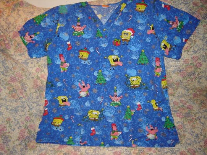Spongebob Squarepants Christmas Scrub Top Shirt M L