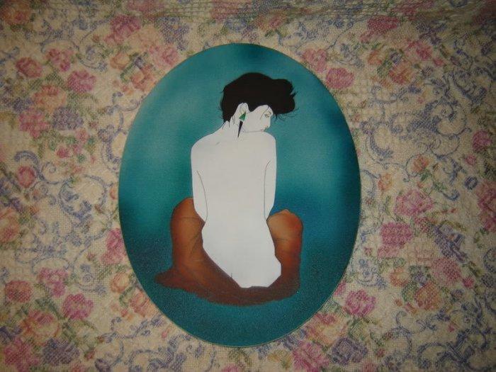 Classy Female Nude Original Art Painting Oval Shape