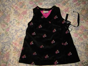 Hanna Andersson Baby Girls Black Velveteen Dress 70