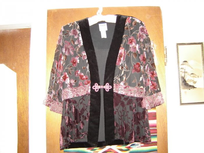 Karen Kwong Burn Out Velvet Black Pink Jacket 6P 6 P S