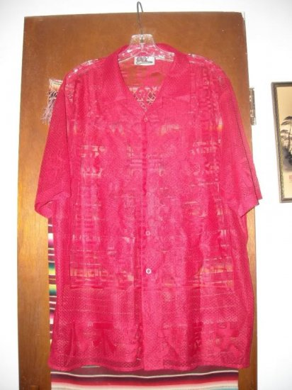 Mens Red Dragon Asian Mesh Shirt M Medium