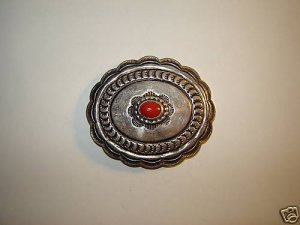 Vintage Coral Stamped Sterling Concho Pin