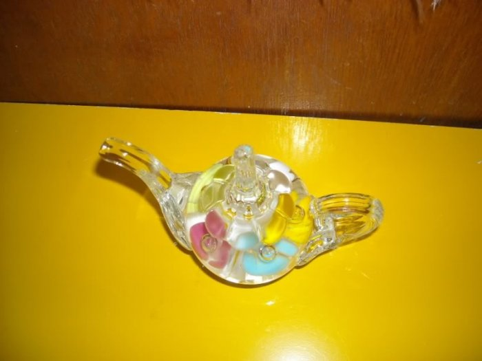 Joe St Clair Teapot Paperweight Colorful Flowers