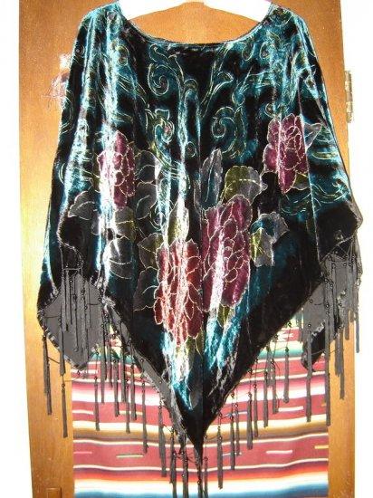 Womens Coldwater Creek Embellished Velvet Poncho