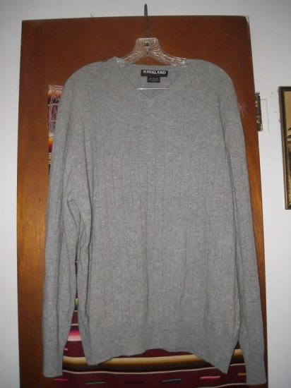 Mens Kirkland Gray Cashmere V-Neck Cashmere Sweater L