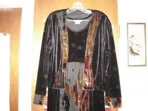 Spencer Alexis 2 Black Velvet Burnout Dress Set 12 M