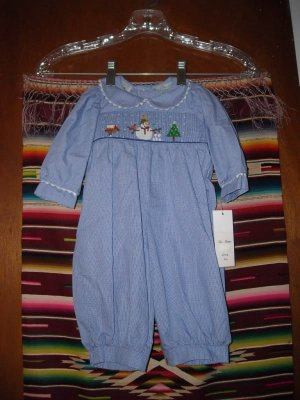 Be Mine Smocked Christmas Snowman Outfit Infants 3M