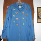 Bob Mackie Wearable Art Blue Insect Butterfly Shirt 1X