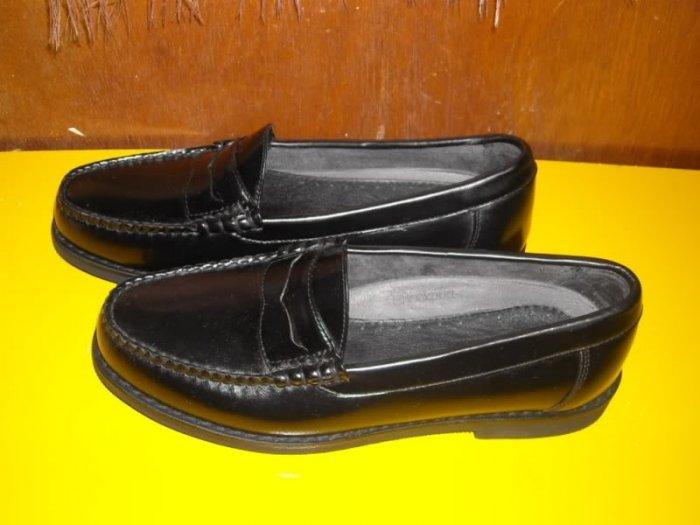Mens Rockport Vibram Black Leather Loafers Shoes 7.5