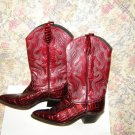 Womens  Red Cowboy Western Leather Boots 6.5