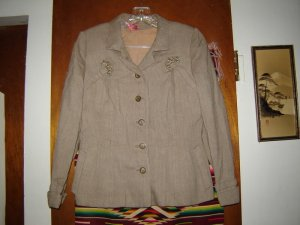 Womens Vintage Embellished Herringbone Jacket S