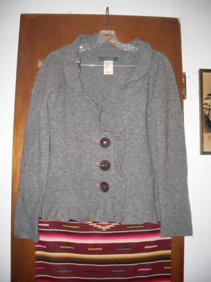 Cartonnier Gray Wool Ruffled Knit Cardigan Sweater L