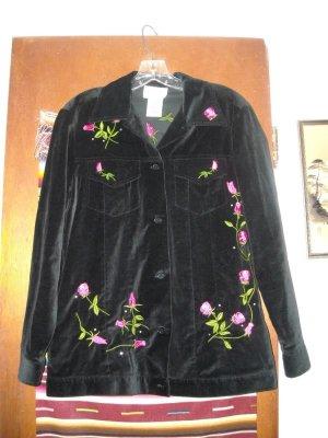 Womens Quacker Factory Black Velvet Roses Jacket XS