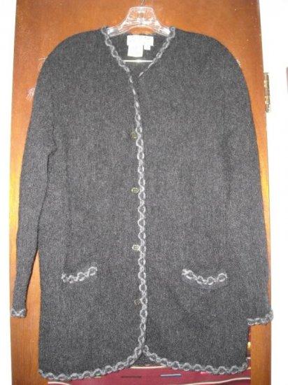 Womens Denbigh Knitwear Charcoal Gray Sweater Jacket S