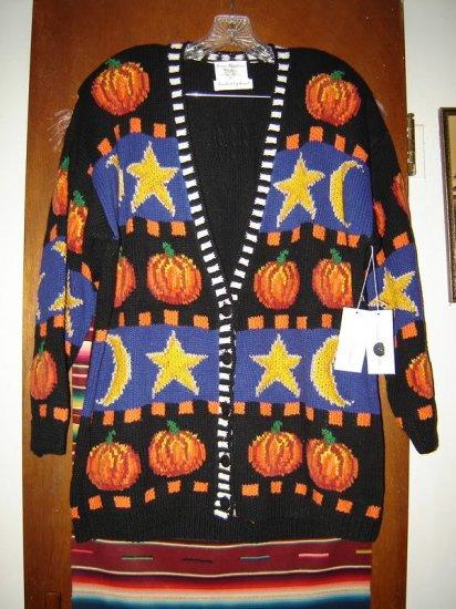 Marisa Christina Halloween Pumpkin Cardigan Sweater XL