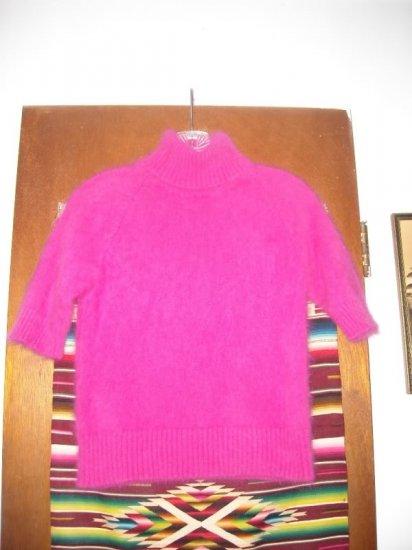 Hot Pink Angora Turtleneck Short Sleeve Sweater XS