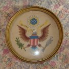 Vintage The Great Seal Crewel Work Framed Wall Hanging
