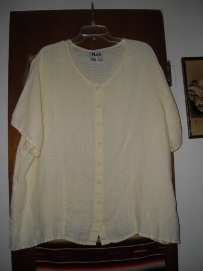 Womens Flax Linen Cream Colored Blouse 3G Generous