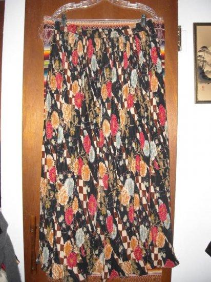 Womens Plus Size Elastic Waist Long Asian Floral Skirt