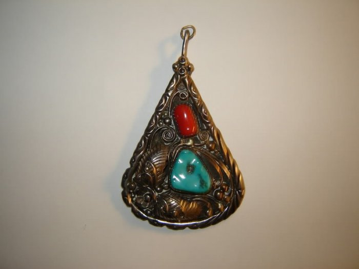 Vintage Large Turquoise Coral Pendant