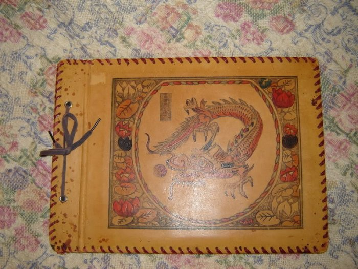 Vintage Asian Shanghai The Bund Leather Scrapbook Album