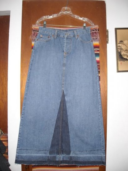 Womens Lucky Dungarees Brand Long Jean Denim Skirt 4 S