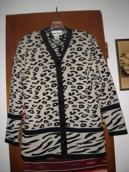 Womens Ami Knits Animal Print Cardigan Sweater 14 L