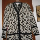 Womens Ami Knits Animal Print Cardigan Sweater 14 L