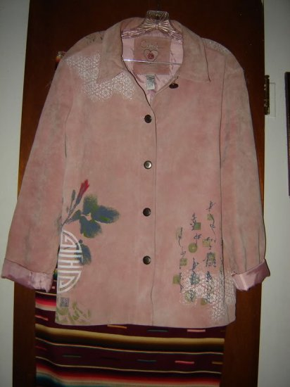 Womens Chicos Asian Oriental Pink Suede Jacket Coat 3 L