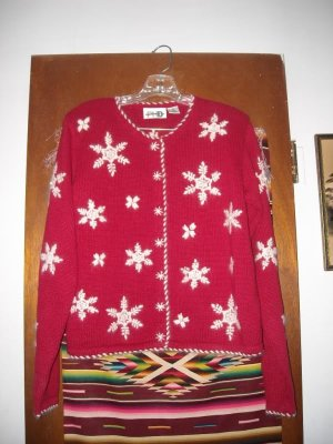 Womens Red Snowflake Christmas Cardigan Sweater S Small