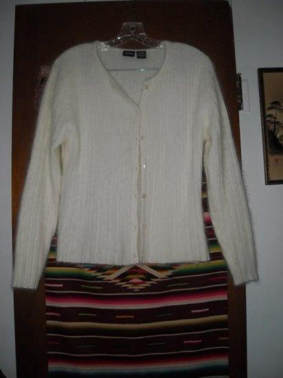 Womens 55% Angora Cardigan Sweater M Off White Cream