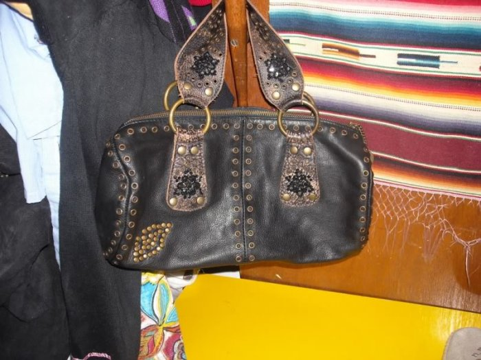 Betsey Johnson Leather Grommet Beaded Barrel Bag