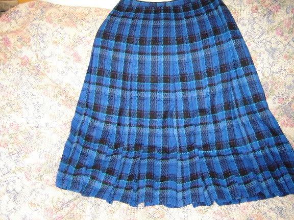 Pendleton Blue Plaid Wool Pleated Skirt 12 M