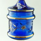 Victorian Style Hand Painted Blue Glass Jar