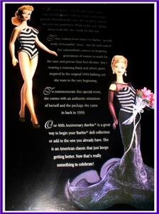 1959 40th Anniversary Barbie RARE 1st Shipment Sticker LIMITED EDITION * NEW *