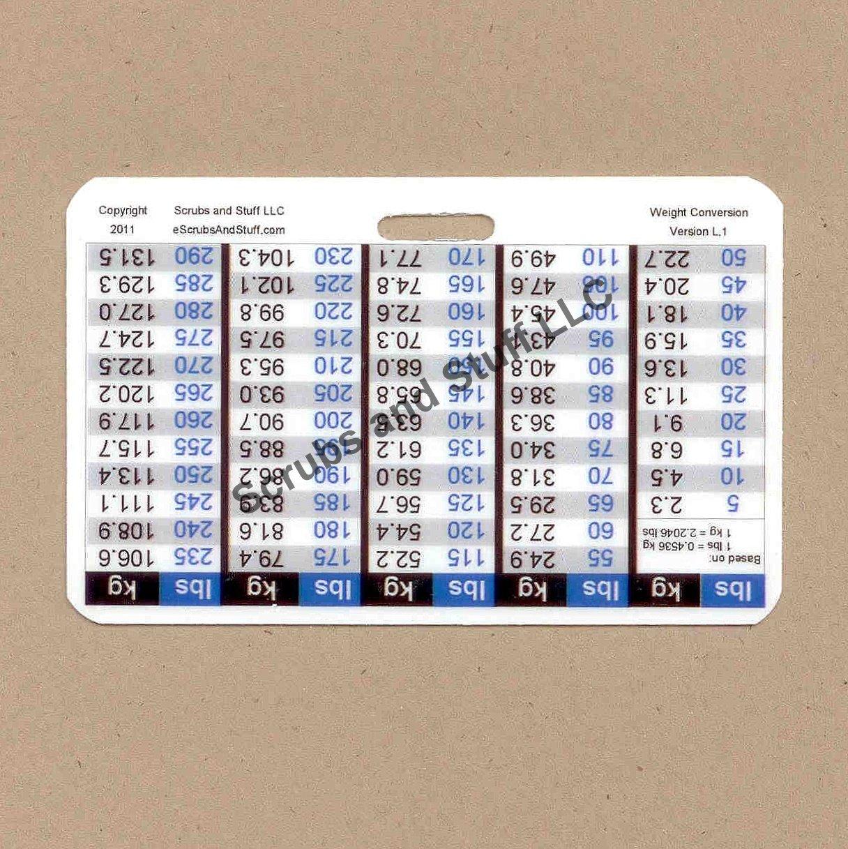 Weight Conversion Badge Card Horizontal Upside-down Version General Range