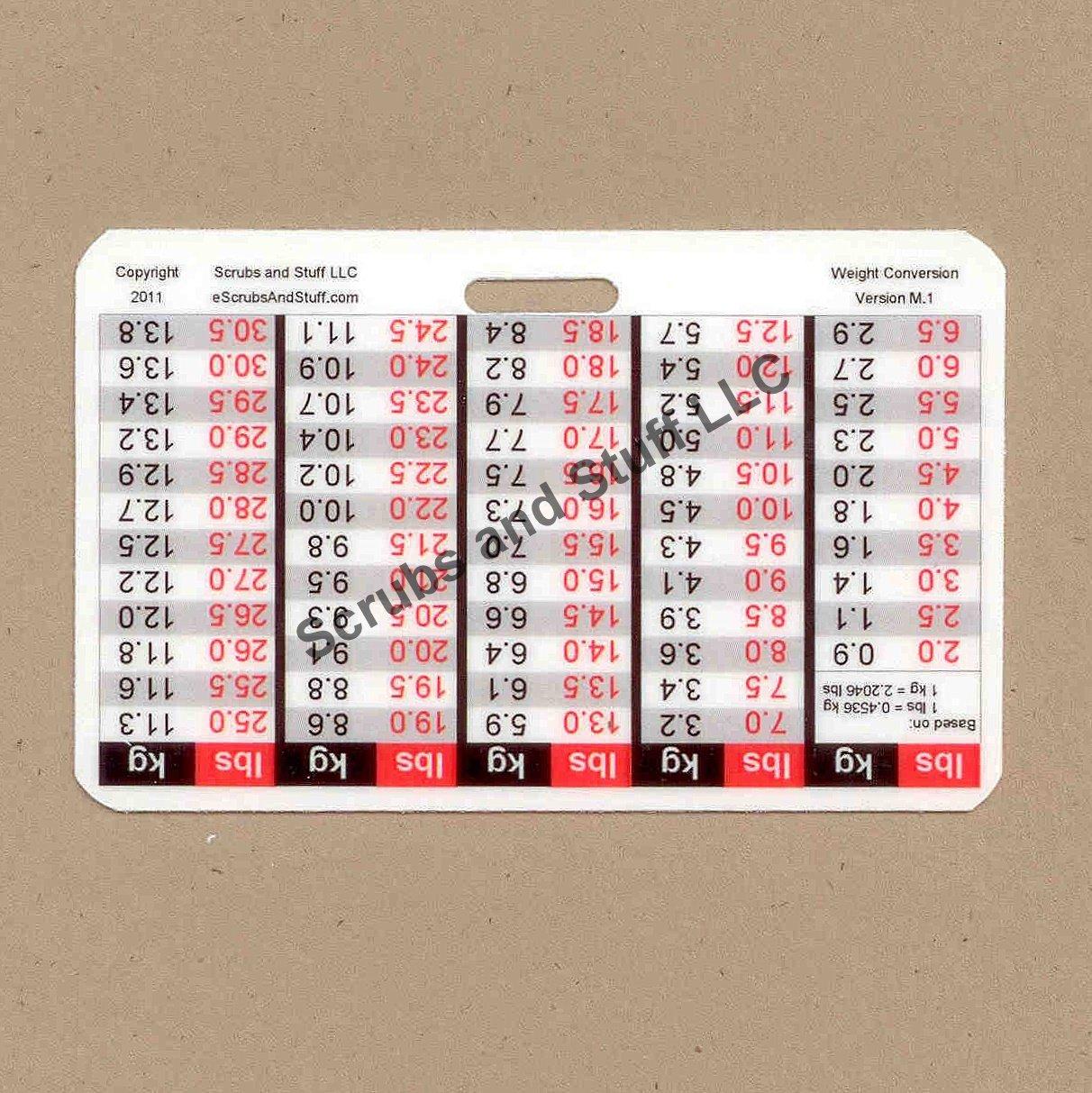 Weight Conversion Badge Card Horizontal Upside-down Version Pediatric Range