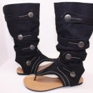 New Style Sandals Thongs Boots Flats Denim Button 5~10